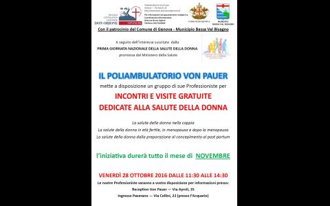Novembre 2016: Incontri e visite gratuite dedicati alla salute della donna